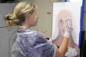 student canvas acrylic paint easel
