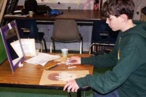 teens drawing self-portrait pastels classes